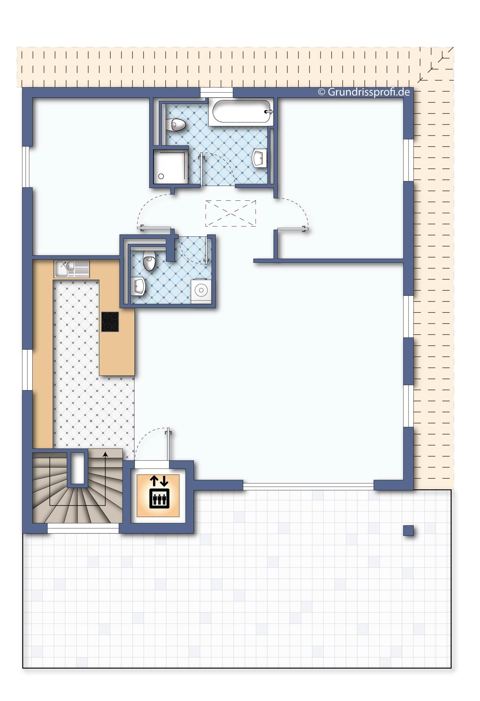 grundriss_penthouse berlin 3 zimmer ohne möbeln